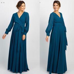 Pinkblush Maternity Teal Long Sleeve Maxi Dress